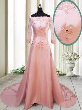 Square Beading and Appliques Prom Dress Peach Zipper Long Sleeves With Brush Train