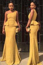 Best Mermaid One Shoulder Yellow Sleeveless Elastic Woven Satin Zipper Homecoming Dress for Prom and Party