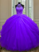 Vintage Purple Tulle Lace Up Halter Top Sleeveless Floor Length Quinceanera Gown Beading and Sequins