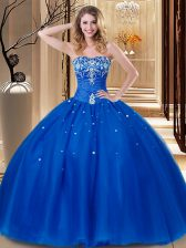Beading and Embroidery Quinceanera Gown Royal Blue Lace Up Sleeveless Floor Length