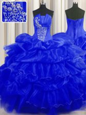 Stylish Sleeveless Beading and Ruffles and Pick Ups Lace Up 15 Quinceanera Dress