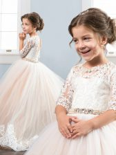 Tulle Scoop Half Sleeves Brush Train Lace Up Beading and Lace Flower Girl Dress in Champagne