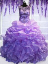 Scoop Sleeveless Organza Floor Length Lace Up Quinceanera Dresses in Lavender with Beading and Pick Ups