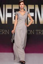 Fashion Grey Chiffon Backless Homecoming Dress Short Sleeves Sweep Train Beading and Ruching