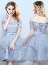 Grey Off The Shoulder Neckline Lace and Ruffles and Belt Damas Dress Short Sleeves Lace Up