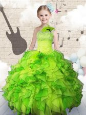 Fashion One Shoulder Organza Sleeveless Floor Length Girls Pageant Dresses and Beading and Ruffles