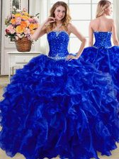 Cute Organza Sleeveless Floor Length Quinceanera Dress and Beading and Ruffles