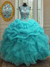 Glorious Scoop Sleeveless Floor Length Beading and Ruffles Lace Up Quince Ball Gowns with Baby Blue
