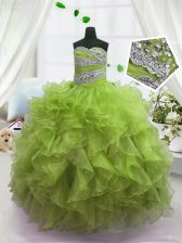 Floor Length Ball Gowns Sleeveless Olive Green Kids Formal Wear Lace Up