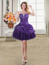 Dramatic Purple Lace Up Dress for Prom Beading and Appliques and Pick Ups Sleeveless Mini Length