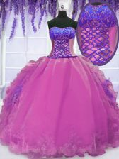 Discount Lilac Sleeveless Organza Lace Up Sweet 16 Dresses for Military Ball and Sweet 16 and Quinceanera