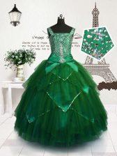 Floor Length Ball Gowns Sleeveless Dark Green Little Girls Pageant Dress Wholesale Lace Up
