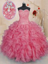 Hot Sale Pink Lace Up Sweetheart Beading and Ruffles Quinceanera Gowns Organza Sleeveless