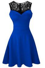 Royal Blue A-line Satin Scoop Sleeveless Lace Tea Length Zipper Dress for Prom