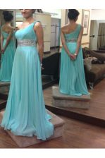 Perfect One Shoulder Baby Blue Sleeveless Chiffon Side Zipper Prom Gown for Prom