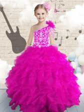 One Shoulder Hot Pink Sleeveless Organza Lace Up Kids Formal Wear for Party and Wedding Party