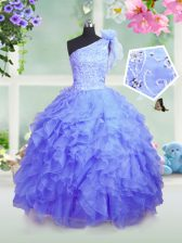 Custom Designed Blue Ball Gowns Organza One Shoulder Sleeveless Beading and Ruffles Floor Length Lace Up Little Girls Pageant Gowns