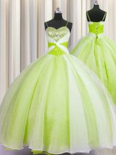 Spaghetti Straps Organza Sleeveless Floor Length Sweet 16 Dress and Beading and Ruching