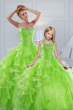 Ball Gowns Beading and Ruffled Layers 15 Quinceanera Dress Lace Up Organza Sleeveless Floor Length