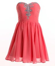 Captivating Sweetheart Sleeveless Lace Up Prom Gown Watermelon Red Chiffon