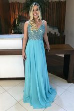 Customized Baby Blue A-line Beading Prom Dresses Backless Chiffon Sleeveless With Train