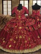 Sleeveless Beading and Embroidery and Ruffled Layers Lace Up 15 Quinceanera Dress