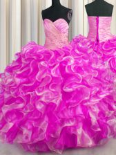 Gorgeous Beading and Ruffles Quince Ball Gowns Rose Pink Lace Up Sleeveless Floor Length