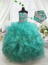 High End Floor Length Ball Gowns Sleeveless Turquoise Little Girl Pageant Dress Lace Up