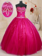 Beading and Sequins Quince Ball Gowns Fuchsia Lace Up Sleeveless Floor Length