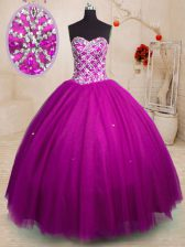Glorious Ball Gowns Quinceanera Gowns Fuchsia Sweetheart Tulle Sleeveless Floor Length Lace Up