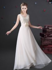 Elegant White Empire Lace and Bowknot Quinceanera Court of Honor Dress Zipper Chiffon Sleeveless Floor Length