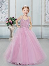 Lilac Ball Gowns Tulle Halter Top Sleeveless Beading Floor Length Lace Up Little Girl Pageant Gowns