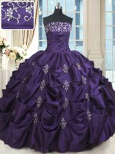 Taffeta Strapless Sleeveless Lace Up Beading and Appliques Vestidos de Quinceanera in Purple