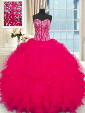 Floor Length Ball Gowns Sleeveless Coral Red Quinceanera Gowns Lace Up