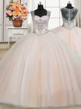 Amazing See Through Back Zipper Up Straps Floor Length Ball Gowns Cap Sleeves Peach Quinceanera Gowns Zipper