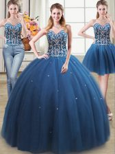 Three Piece Sweetheart Sleeveless Tulle Vestidos de Quinceanera Beading Lace Up