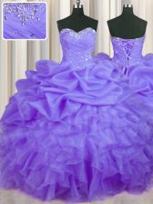 Sleeveless Floor Length Beading and Ruffles and Pick Ups Lace Up 15th Birthday Dress with Lavender