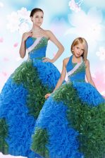 Suitable Multi-color Lace Up Sweet 16 Quinceanera Dress Sequins and Pick Ups Sleeveless Floor Length