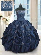 Exceptional Navy Blue Strapless Lace Up Beading and Pick Ups 15 Quinceanera Dress Sleeveless