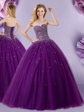 New Style Floor Length Eggplant Purple Sweet 16 Quinceanera Dress Sweetheart Sleeveless Lace Up