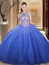 Super V-neck Sleeveless Sweet 16 Quinceanera Dress Floor Length Lace and Appliques Blue Tulle