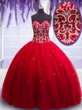 Floor Length Red Vestidos de Quinceanera Sweetheart Sleeveless Lace Up