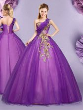 Stunning Purple Ball Gowns One Shoulder Sleeveless Tulle Floor Length Lace Up Appliques and Ruffles Quinceanera Gowns