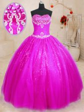 Beauteous Sweetheart Sleeveless Tulle and Sequined Sweet 16 Quinceanera Dress Beading Lace Up