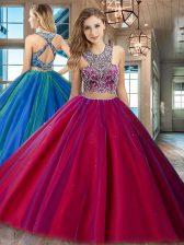 Fuchsia Scoop Criss Cross Beading 15th Birthday Dress Sleeveless