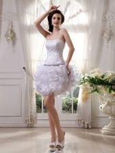 White Sleeveless Knee Length Beading and Ruffles Zipper Dress for Prom
