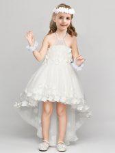 A-line Flower Girl Dress White Halter Top Organza Sleeveless High Low Zipper