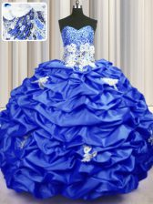 Fancy Sleeveless Brush Train Lace Up With Train Appliques and Sequins and Pick Ups Sweet 16 Dress