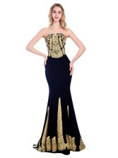 Custom Designed Mermaid Black Sleeveless With Train Appliques Zipper Prom Dress