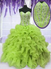 Customized Yellow Green Sleeveless Organza Lace Up Quinceanera Gowns for Military Ball and Sweet 16 and Quinceanera